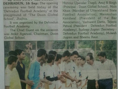 DEHRADUN FOOTBALL ACADEMY NEWS