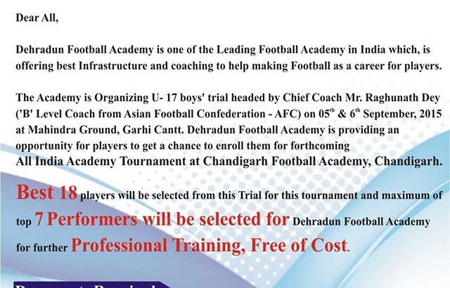 dehradun football academy india